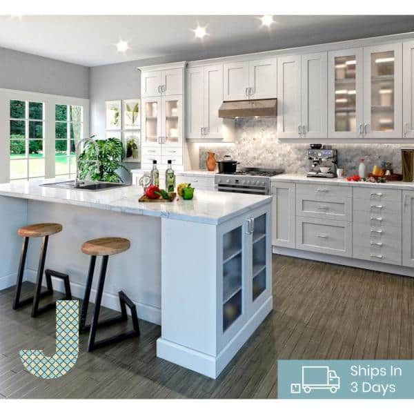J Collection Shaker Assembled 30x30x14 In Wall Cabinet With Frosted Glass Doors In Vanilla White Wg3030 Ws The Home Depot