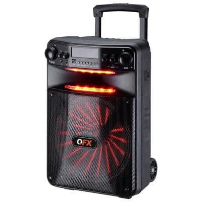 Portable Bluetooth Rechargeable Party Speaker with 12 in. Woofer, RGB Lights, FM Radio, Microphone and App Controls