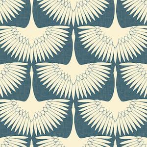 Denim Blue Vinyl Peel & Stick Moisture Resistant Wallpaper Roll (Covers 28 Sq. Ft.)