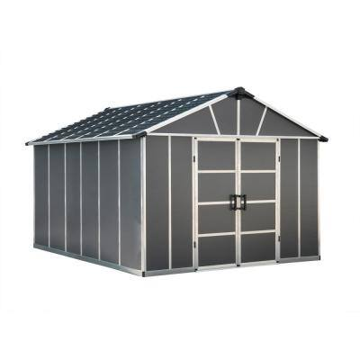 Yukon 11 ft. W x 13.1 ft. D x 8.3 ft. H Dark Gray Storage Shed