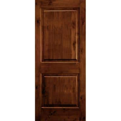 32 in. x 80 in. Rustic Knotty Alder Square Top Red Chestnut Stain Right-Hand Inswing Wood Single Prehung Front Door