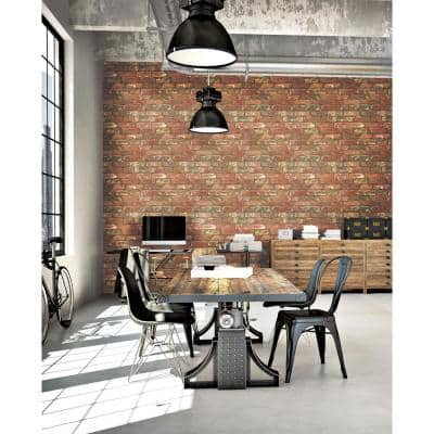 West End Brick Peel and Stick Red Wallpaper Sample