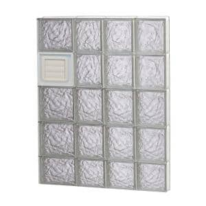 25 in. x 36.75 in. x 3.125 in. Frameless Ice Pattern Glass Block Window with Dryer Vent
