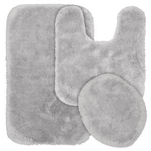 Finest Luxury Platinum Gray 3-Piece Washable Bathroom Rug Set