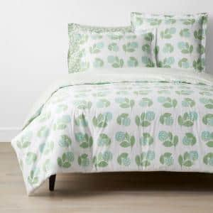 Company Cotton Hydrangea Green Floral Twin Percale Duvet Cover