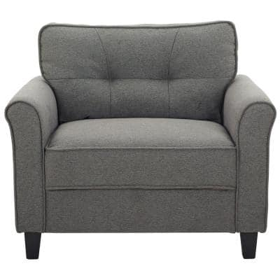 Hazel Chair with Upholstered Fabric Rolled Arms, Heather Gray