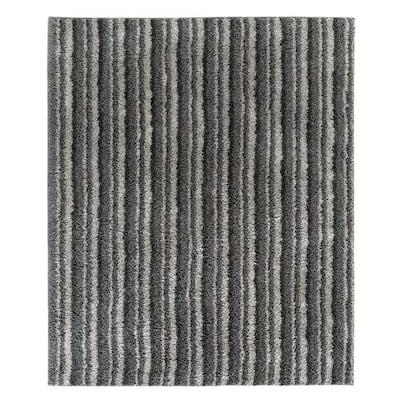 Kennedy Shag Silver Stripe 8 ft. x 10 ft. Area Rug