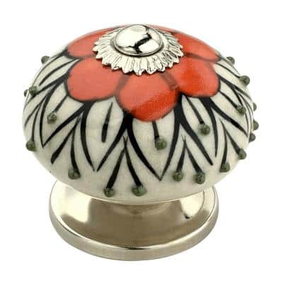 Stone Pattern 1-3/5 in. Orange and White Cabinet Knob (Pack of 10)
