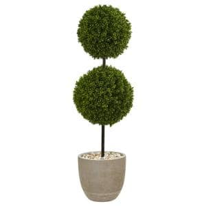 4 ft. High Indoor/Outdoor Boxwood Double Ball Topiary Artificial Tree in Oval Planter