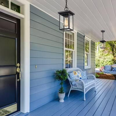 1-Light Farmhouse Matte Black Outdoor Lantern Pendant Light with Seeded Glass Shade