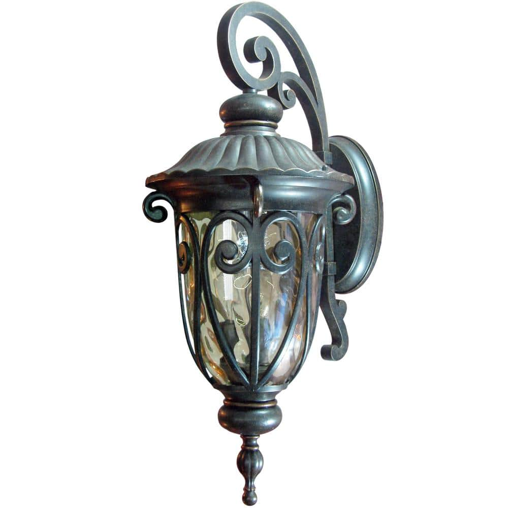 Hailee 3 Light Oil Rubbed Bronze Outdoor Wall Lantern Sconce El591lor The Home Depot