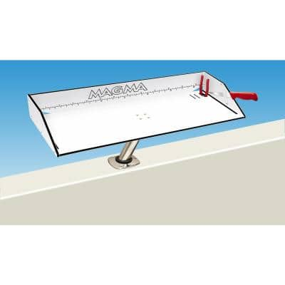Bait/Filet Mate Table with LeveLock Fish Rod Holder Mount Built-in Ruler, Knife, and Pliers Slots