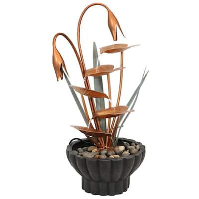 34 in. 5-Tier Copper Flower Petals Water Fountain