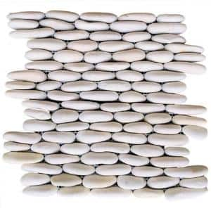 White Stacked 12 in. x 12 in. x 0.75 in. Natural Finish Stone Pebble Wall Tile (5.0 sq. ft. / case)