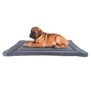 Medium 34 in. x 21 in. Gray Waterproof Pet Bed - Washable Dog Kennel Pad with Raised Edge