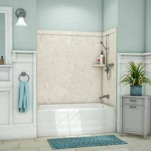 Elite 32 in. x 60 in. x 60 in. 9-Piece Easy Up Adhesive Tub Surround in Calabria