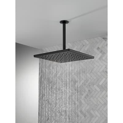1-Spray 11.8 in. Single Wall Mount Square Fixed Rain Shower Head in Matte Black