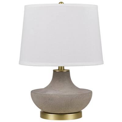 Almelo 19.5 in. H Cement/Antique Gold Ceramic Table Lam