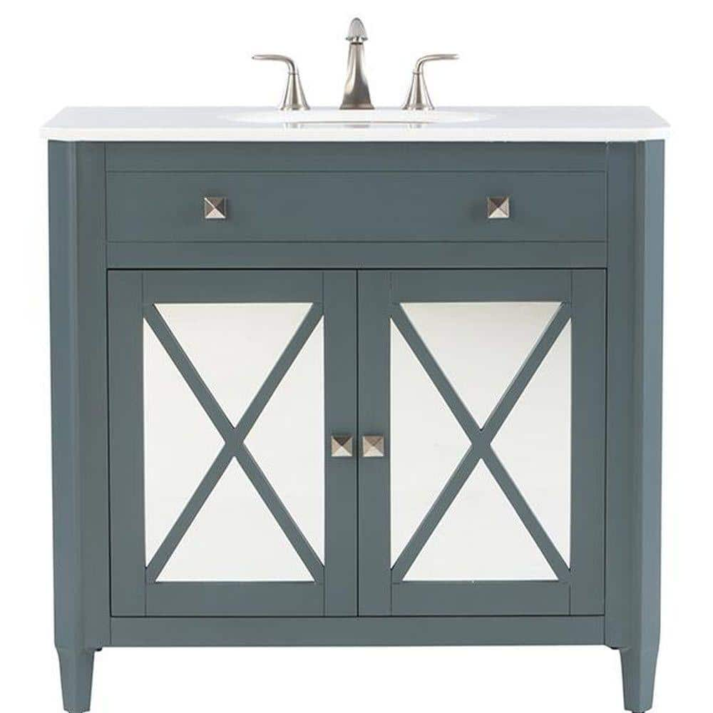 Home Decorators Collection Barcelona 37 In Vanity In Teal Blue With Marble Vanity Top In China White And Under Mount Sink 1973100330 The Home Depot