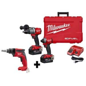 M18 FUEL 18-Volt Lithium-Ion Brushless Cordless Hammer Drill and Impact Driver Combo Kit (2-Tool) W/ Drywall Screw Gun