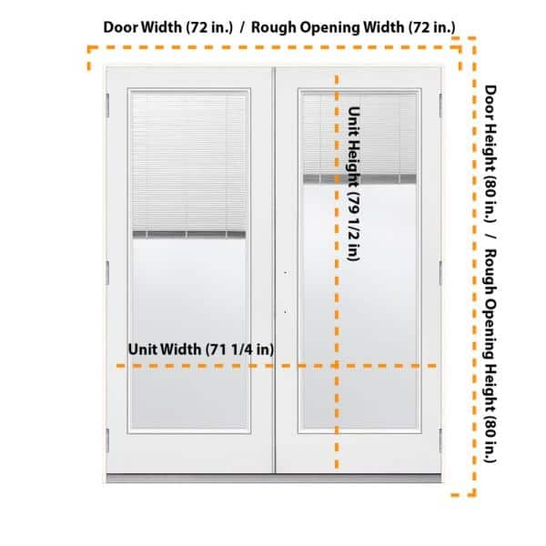 Jeld Wen 72 In X 80 In Primed Steel Left Hand Outswing Full Lite Active Stationary Patio Door W Internal Blinds H37808 The Home Depot