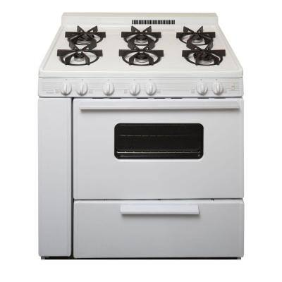 36 in. 3.91 cu. ft. Gas Range with Sealed Burners in White
