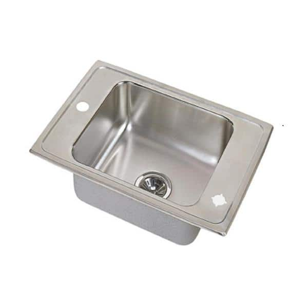 Elkay Lustertone Drop-In Stainless Steel 25 in. 2-Hole Single Bowl Classroom Sink | The Home Depot