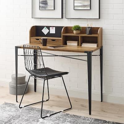 42 in. Rectangular Reclaimed Barnwood Metal and Wood Hutch Writing Desk