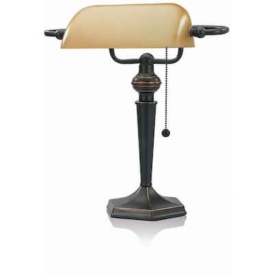 15 in. Antique Bronze Indoor Bankers Lamp with Amber Shade