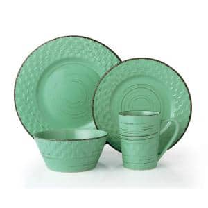 16-Piece Casual Green Stoneware Dinnerware Set (Service for 4)