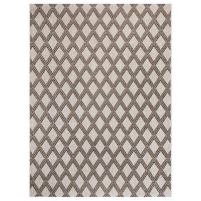 Basket Weave Gray 8 ft. x 10 ft. Trellis Indoor/Outdoor Area Rug