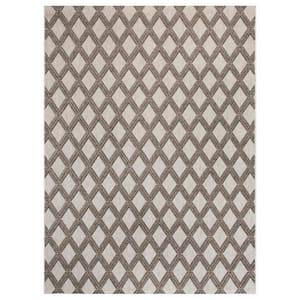 Basket Weave Gray 9 ft. x 12 ft. Trellis Indoor/Outdoor Area Rug