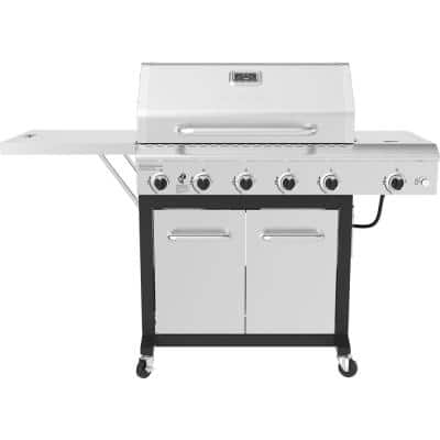 5-Burner Propane Gas Grill in Stainless Steel with Side Burner and Foldable Side Shelf