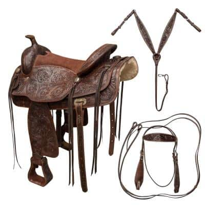 16 in. Tooled Leather Saddle with Headstall, Breach Collar and Reins