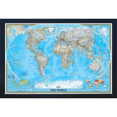 National Geographic Framed Interactive Wall Art Travel Map with Magnets - World Classic - Extra Large