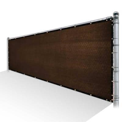3 ft. x 10 ft. Brown Privacy Fence Screen Mesh Fabric Cover Windscreen with Reinforced Grommets for Garden Fence