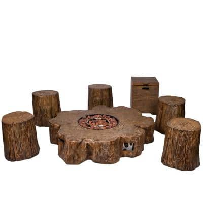 50 in. W Amazonia Outdoor Tree Trunk Propane Gas Brown Fire Pit with Log Stools (7-Piece)