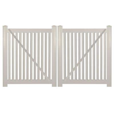 Williamsport 10 ft. W x 4 ft. H Tan Vinyl Pool Fence Double Gate Kit Includes Gate Hardware