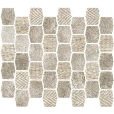 Organic Strands Grey 9.8 in. x 12.11 in. x 6mm Matte Glass Composite Lantern Mesh-Mounted Mosaic Tile