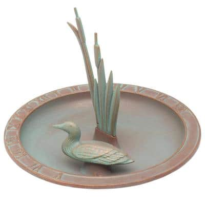 Weathered Bronze Loon Sundial Birdbath