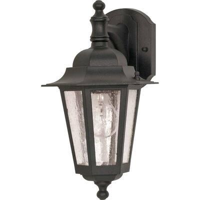 1-Light Outdoor Textured Black Incandescent Wall Lantern Sconce