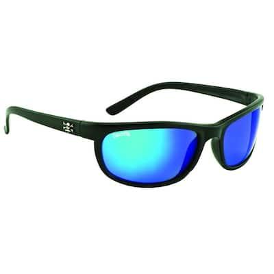 Black Frame Rockpile Sunglasses with Blue Mirror Lenses