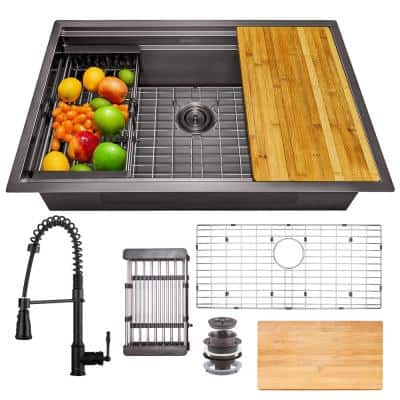 All-in-One Matte Black Finished Stainless Steel 32 in. x 18 in. Undermount Kitchen Sink with Spring Neck Faucet