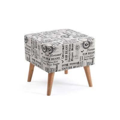 Accent White Ottoman Upholstered in a Newspaper Print Design