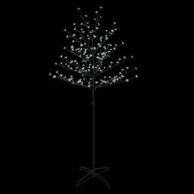 6 ft. Green LED Lighted Cherry Blossom Flower Artificial Tree