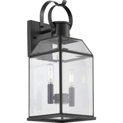 Canton Heights 2-Light 18 in. Matte Black Outdoor Wall Lantern with Clear Beveled Glass