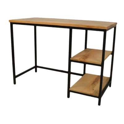 42 in. Rectangular Natural/Black Writing Desks with Solid Wood Top