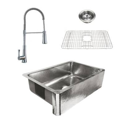 Percy All-in-One Polished Stainless-Steel 32 in. Single Bowl Farmhouse Apron Kitchen Sink with Pfister Faucet and Drain