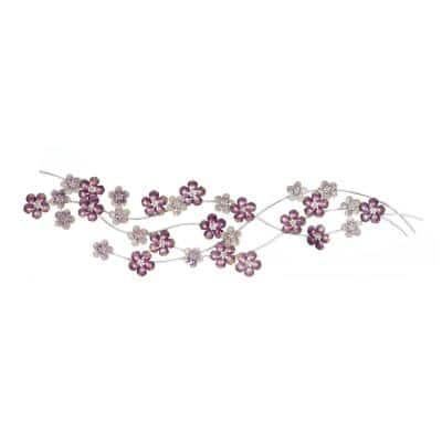 13 in. x 50 in. Iron Violet and Purple Flowers Wall Decor