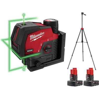 M12 12-Volt Lithium-Ion Cordless Green 125 ft. Cross Line and Plumb Points Laser Level Kit with 3 Batteries and Tripod